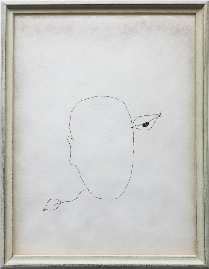 Telepathy - Black thread on fabric, 30 x 30 cm Paris, 2014