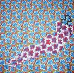 Waiting.. - Acrylic on fabric, 65 x 65 cm, India 2009