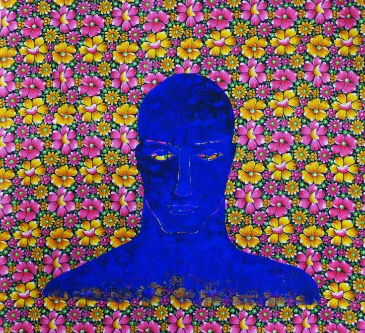 The sad blue man - Pigment on fabric, 92 x 92 cm, Paris 2014